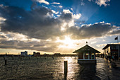 View of the harbor mile from Heiligenhafen, Baltic Sea, Ostholstein, Schleswig-Holstein, Germany, flooded by floods