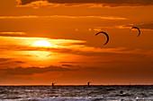Kiting in front of the sunset, Baltic Sea, Heiligenhafen, Ostholstein, Schleswig-Holstein, Germany