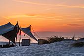 Awning on the beach at Heiligenhafen, Baltic Sea, Ostholstein, Schleswig-Holstein, Germany