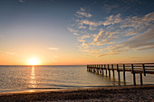Bathing jetty in the first morning light in Dahme, Schleswig-Holstein, Germany