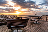 A viewing platform with deck chairs on the beach of Dahme, sunrise, Baltic Sea, Schleswig-Holstein, Germany