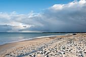 Heraufziehender Schneeschauer am Dahmer Strand, Ostsee, Schleswig-Holstein, Deutschland
