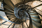 The spiral stairs in the city tower of Innsbruck, Tyrol, Austria