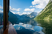 By boat across the Koenigssee in Berchtesgadener Land in Bavaria, Germany