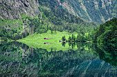 The mirrored Obersee just behind the Koenigssee in Berchtesgadener Land in Bavaria, Germany