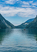 A boat on Koenigssee in Berchtesgadener Land in Bavaria, Germany