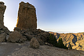 """Roque Nublo"" monolith in the high mountains of Gran Canaria (1813 m altitude) in the evening light, Spain"