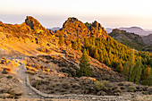 "Landscape at the ""Roque Nublo"" monolith in the high mountains of Gran Canaria (1813 m altitude) in the sunset, Spain"