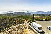 "Parking lot at the ""Pico de las Nieves"" viewpoint with a view of the high mountains of Gran Canaria, Spain"