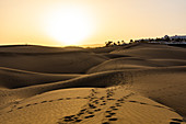 Sunset over the dunes of Maspalomas, Gran Canaria, Spain