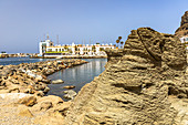 Playa Mogan - On the beach of the popular port town of Puerto de Mogan, southwest Gran Canaria, Spain