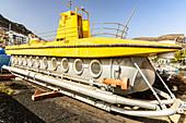 Issued submarine at the port of Puerto de Mogan, southwest Gran Canaria, Spain