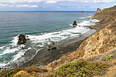 View over Playa de Benijo - beach in the north of the Anaga mountains, Tenerife, Spain