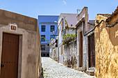 Alley with colorful facades in Icod de los Vinos, north-west of Tenerife, Spain