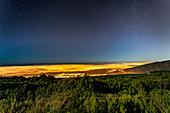 Sicht auf Nordküste bei Nacht, Teneriffa, Spanien