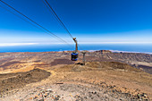 View from the summit of the Teide volcano (3,555 m) to the arriving gondola at the cable car mountain station, Tenerife, Spain
