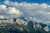 Wolkenstimmung über Reiteralm in den Berchtesgadener Alpen, vom Ristfeuchthorn, Chiemgauer Alpen, Chiemgau, Oberbayern, Bayern, Deutschland