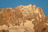 Zugspitze im Morgenlicht, Werdenfelser Land, Werdenfels, Bayerische Alpen, Oberbayern, Bayern, Deutschland