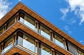 Wood and glass facade of the Illwerke power station near Vandans, architect: Hermann Kaufmann, Montafon, Vorarlberg, Austria