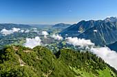 Wolkenstimmung über Himmelschrofen, Oberstdorfer Tal und Nebelhorn im Hintergrund, Himmelschrofen, Allgäuer Alpen, Allgäu, Bayern, Deutschland