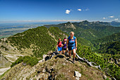 Three women hiking up to the Hohe Kisten, Estergebirge, Bavarian Alps, Upper Bavaria, Bavaria, Germany