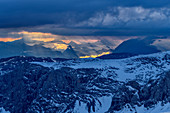 Thunderstorm mood over the Dead Mountains, from the Hallstatt Glacier, Dachstein, Upper Austria, Austria