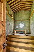 View inside the Jakobskapelle, architect: Michele de Lucchi, Auer Berg, Upper Bavaria, Bavaria, Germany