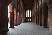 Sunlight shines through the corridors in the Chorin monastery