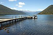 Fishing boat on Lake Rotorua in Nelson Lakes National Park in Tasman, New Zealand.