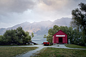 Boathouse in Glenorchy on Lake Wakatipu in Glenorchy, Otago New Zealand.