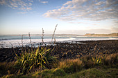Sunset at Manu Bay in Raglan in the Waikato District, New Zealand.