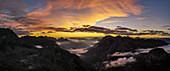 Panorama at sunrise from the air, Vorarlberg, Austria