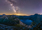 Milkyway above lake Lünersee, Vorarlberg region, austrian alps