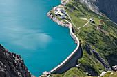 Dam wall of the Lünersee reservoir, Brandnertal, Vorarlberg, Austria