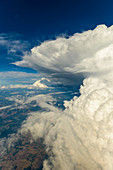 Aerial shot of a thunderstorm cloud above Bavaria, Germany