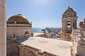 Overview of Cádiz Cathedral from the bell tower, Cádiz, province of Cádiz, Andalusia, Spain