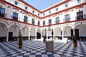 The court of Cadìz Convent, Hotel Convento Cadìz, Cádiz, province of Cádiz, Andalusia, Spain