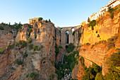 The Puente Nuevo bridge at sunset, Ronda, province of Málaga, Andalusia, Spain