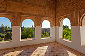 Arched windows in Generalife Palace, Granada, province of Granada, Andalusia, Spain