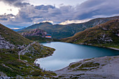 Dusk at Volaia Lake with the Wolayerseehutte, Carnic Alps, Lesachtal, Carinthia, Austria.