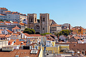 Sé de Lisboa (Lisbon Cathedral) view from the top of Arco de Rua Augusta (Arch of Augusta Street), Lisbon, Lisbon Metropolitan Area, Portugal
