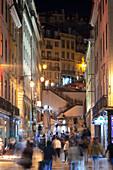 A nightview of a street in Baixa Neighborhood, Lisbon, Lisbon Metropolitan Area, Portugal