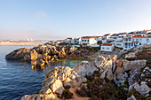 The houses of Baleal, on the cliffs of Baleal Island, Peniche municipality, Leiria district, Estremadura province, Portugal.