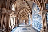 The azulejo mural in the cloister arcades of Porto Cathedral (Sé do Porto), Porto, Porto district, Norte Region, Portugal