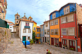 Colored houses in Cathedral neighbourhood, Porto, Porto district, Norte Region, Portugal