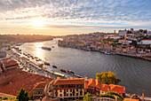 Overview of Porto old town and Douro River from Miraduro do teleférico (cable car viewpoint), Vila Nova de Gaia, Porto district, Norte Region, Portugal