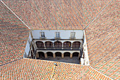The internal courtyard of the University of Coimbra seen from the top of the Tower, Coimbra, Coimbra district, Centro Region, Portugal.