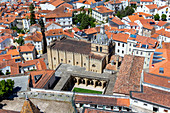 The Old Cathedral (Sé Velha) of Coimbra seen from the Tower of University, Coimbra, Coimbra district, Centro Region, Portugal.