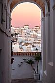 An alley at dawn in Vejer de la Frontera, Cadiz province, Costa de la Luz, Andalusia, Spain, Europe
