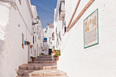 The typical narrow streets of the white village of Frigiliana, La Axarquia, Malaga province, Andalusia, Spain, Europe